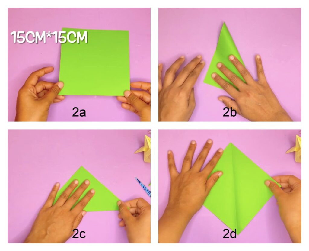 How to make an origami tulip flower with stem and leaf