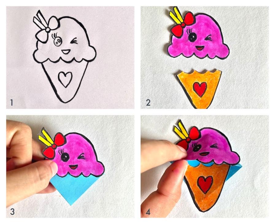 kawaii ice cream corner bookmark