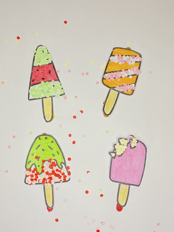 Easy summer craft for preschoolers (ice cream popsicle craft with free template)