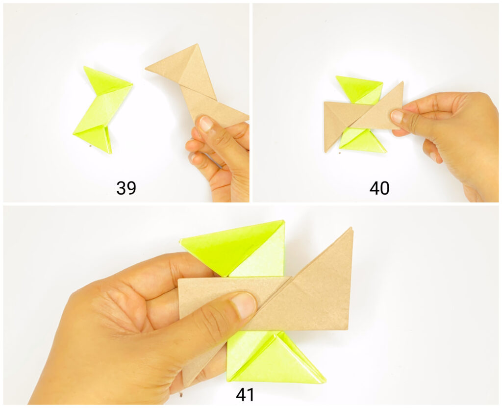 How to make ninja star using two coloured papers