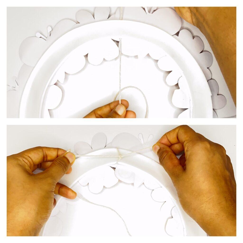 Paper plate flower garden wreath spring craft for kids
