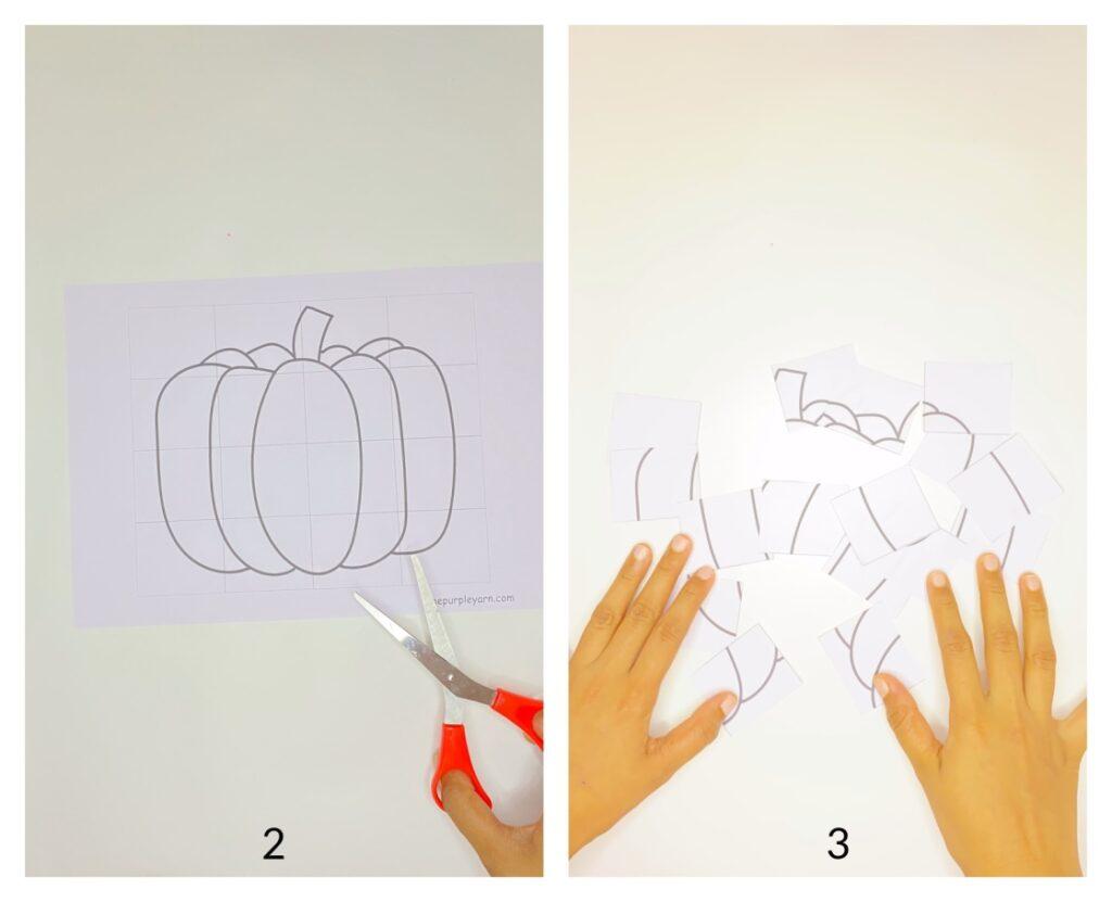 Pumpkin puzzle autumn craft for kids