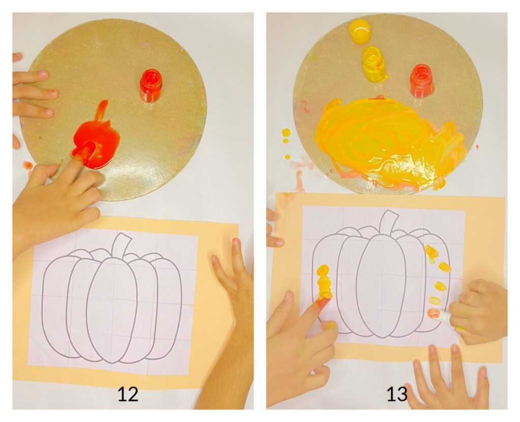 Pumpkin puzzle fall craft for kids