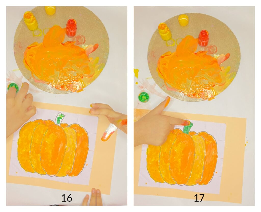 Pumpkin puzzle fall craft for kids with free template