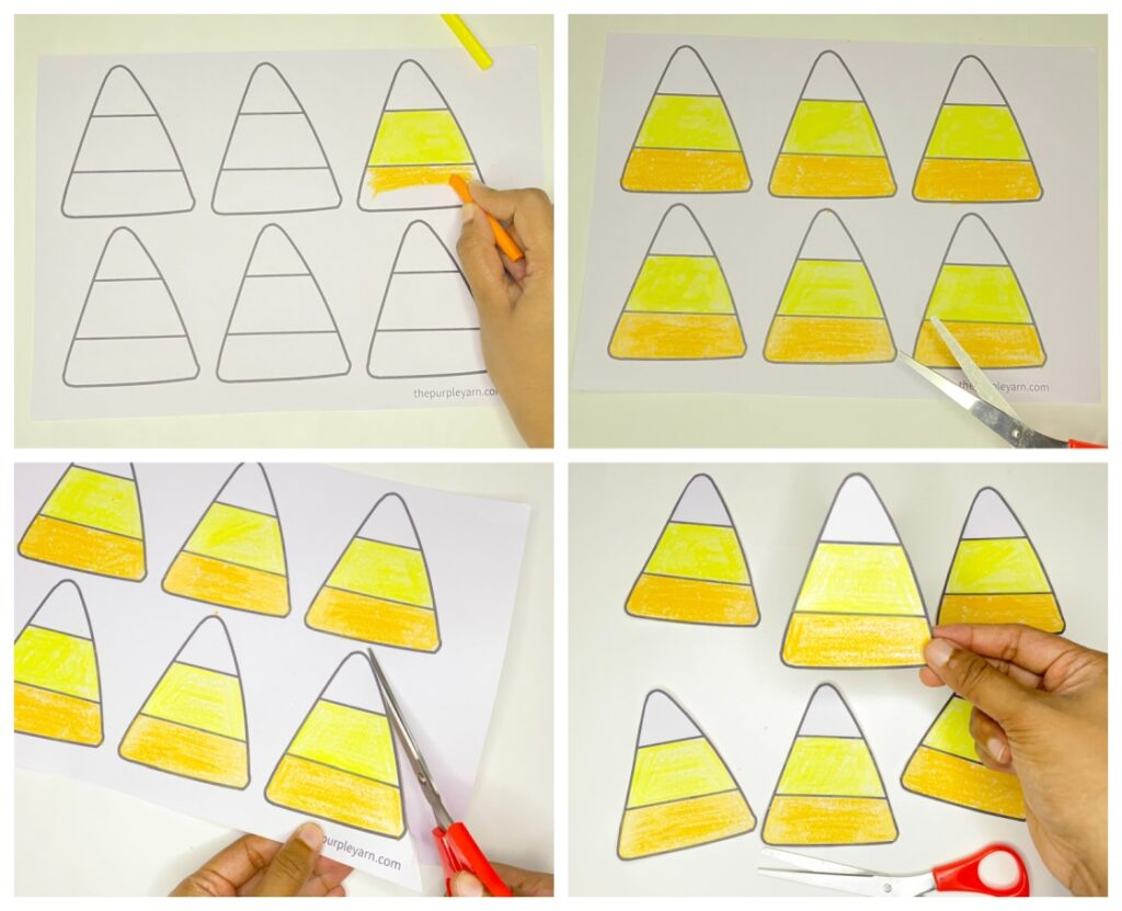 Step-by-step easy candy corn craft for kids