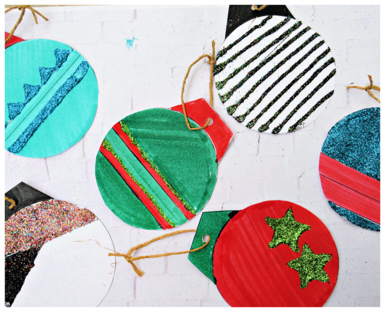 Paper jingle bell ornament craft for kids (step-by-step pictures)